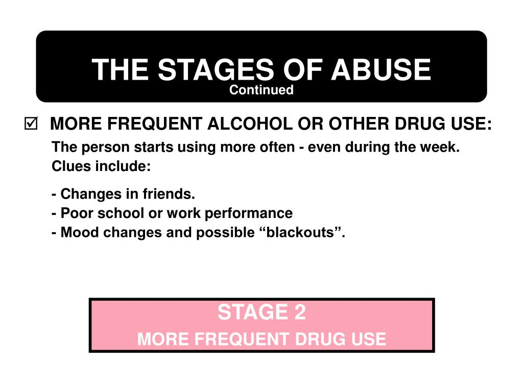 MORE FREQUENT ALCOHOL OR OTHER DRUG USE: