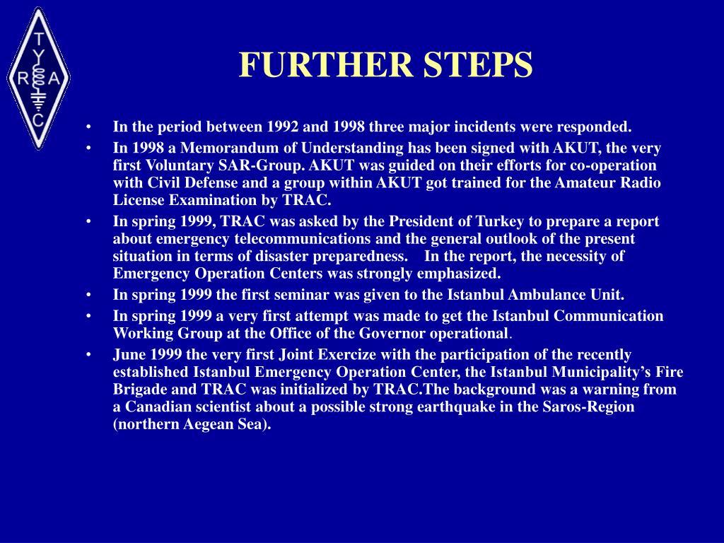 FURTHER STEPS