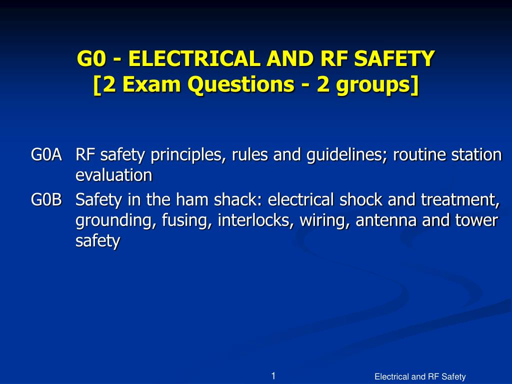 g0 electrical and rf safety 2 exam questions 2 groups