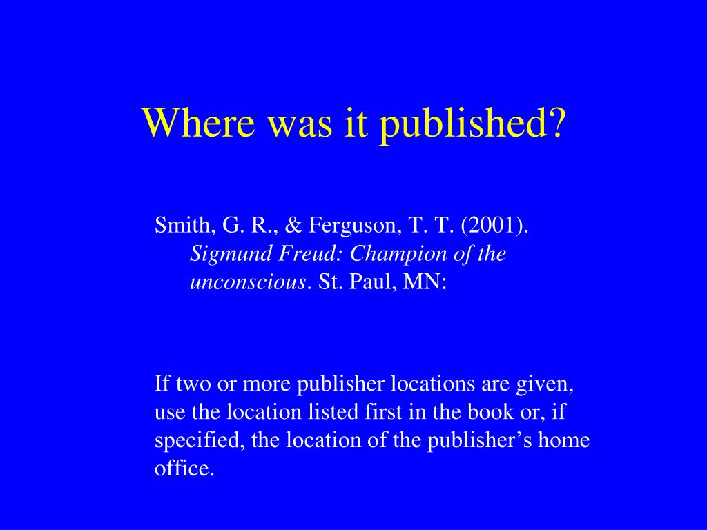 Where was it published?