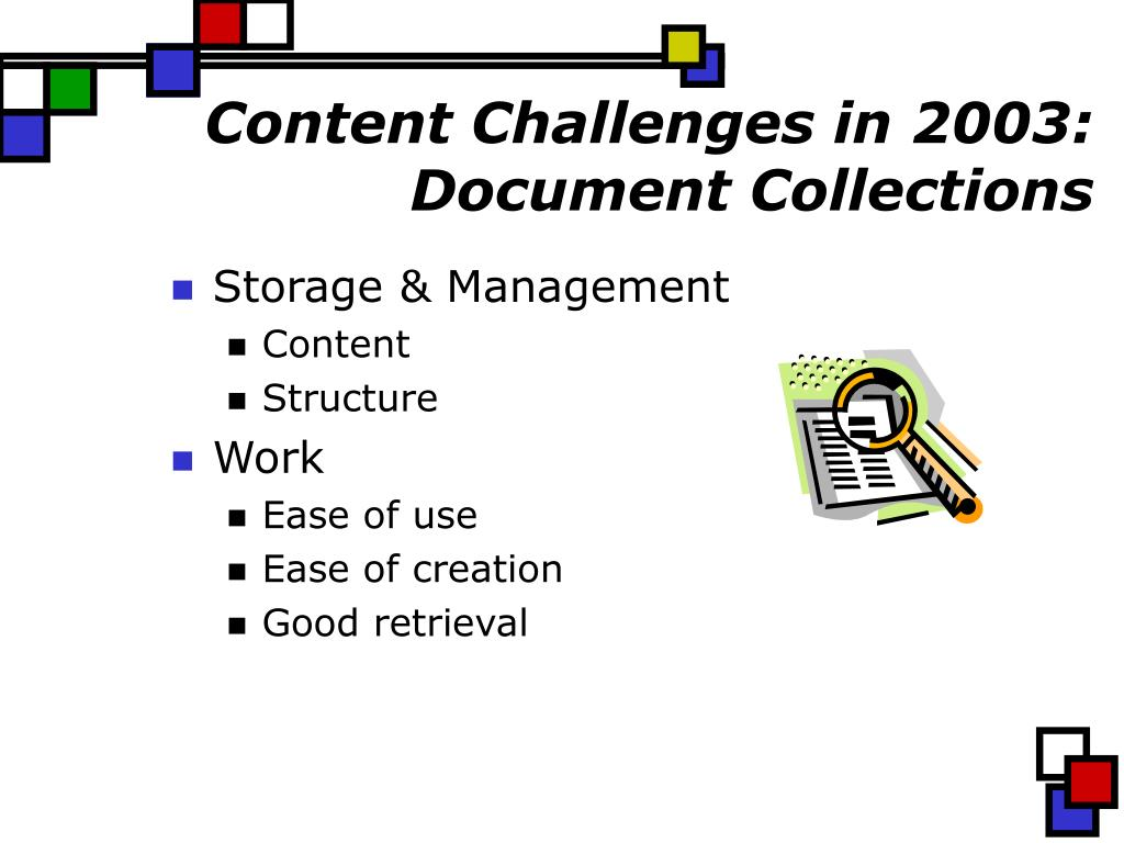 Content Challenges in 2003: Document Collections
