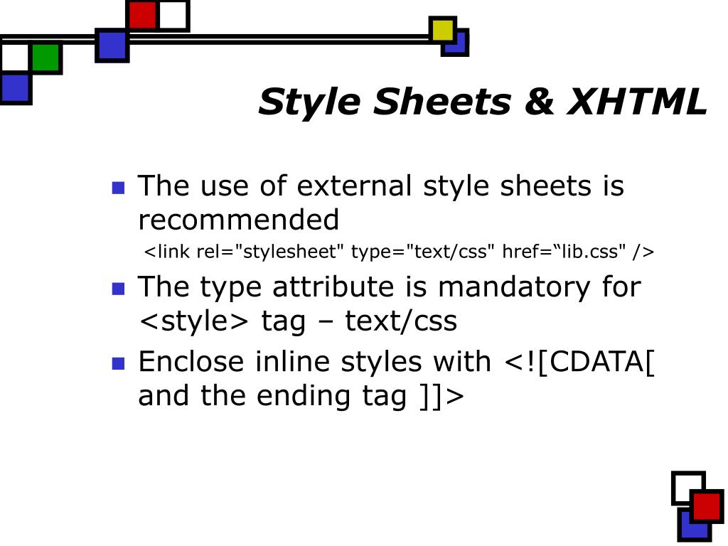 Style Sheets & XHTML