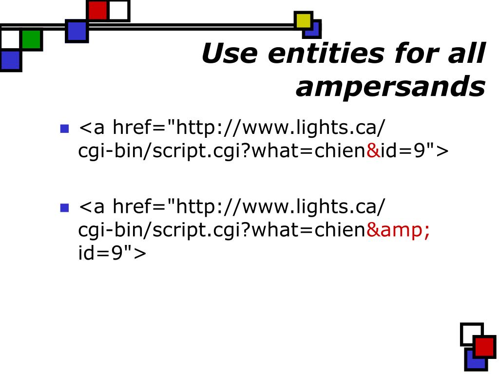 Use entities for all ampersands