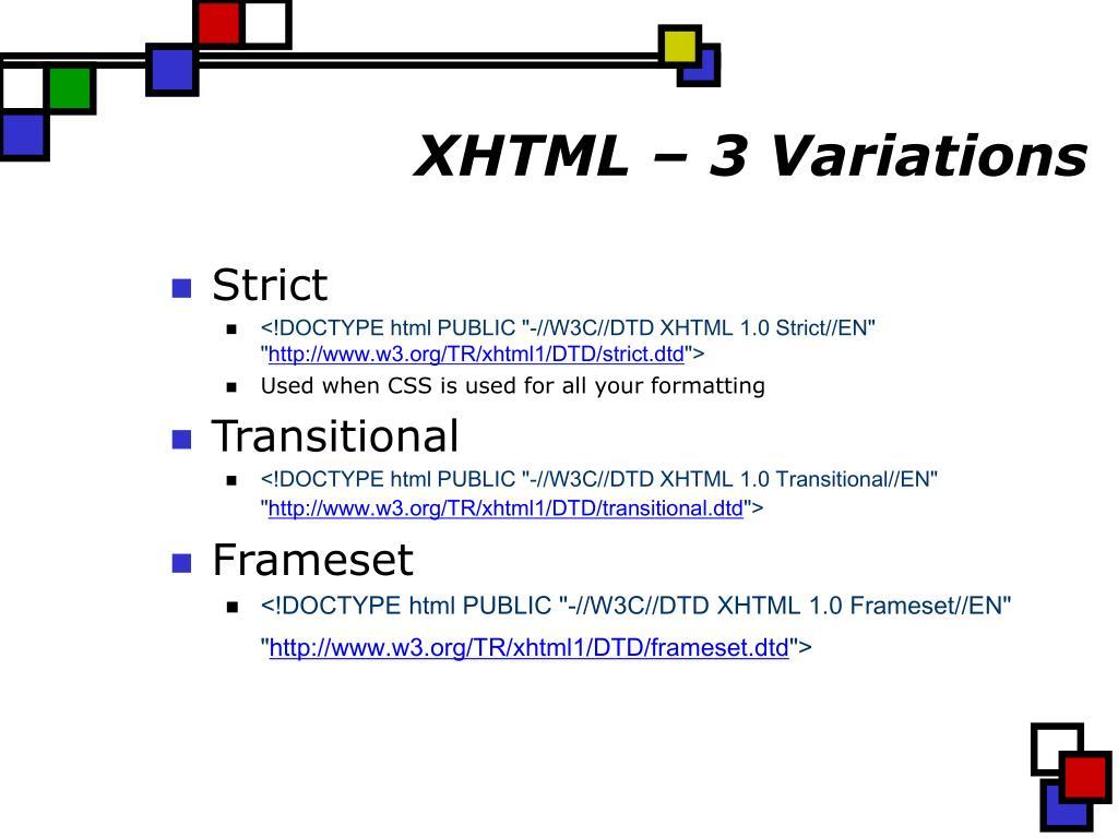 XHTML – 3 Variations