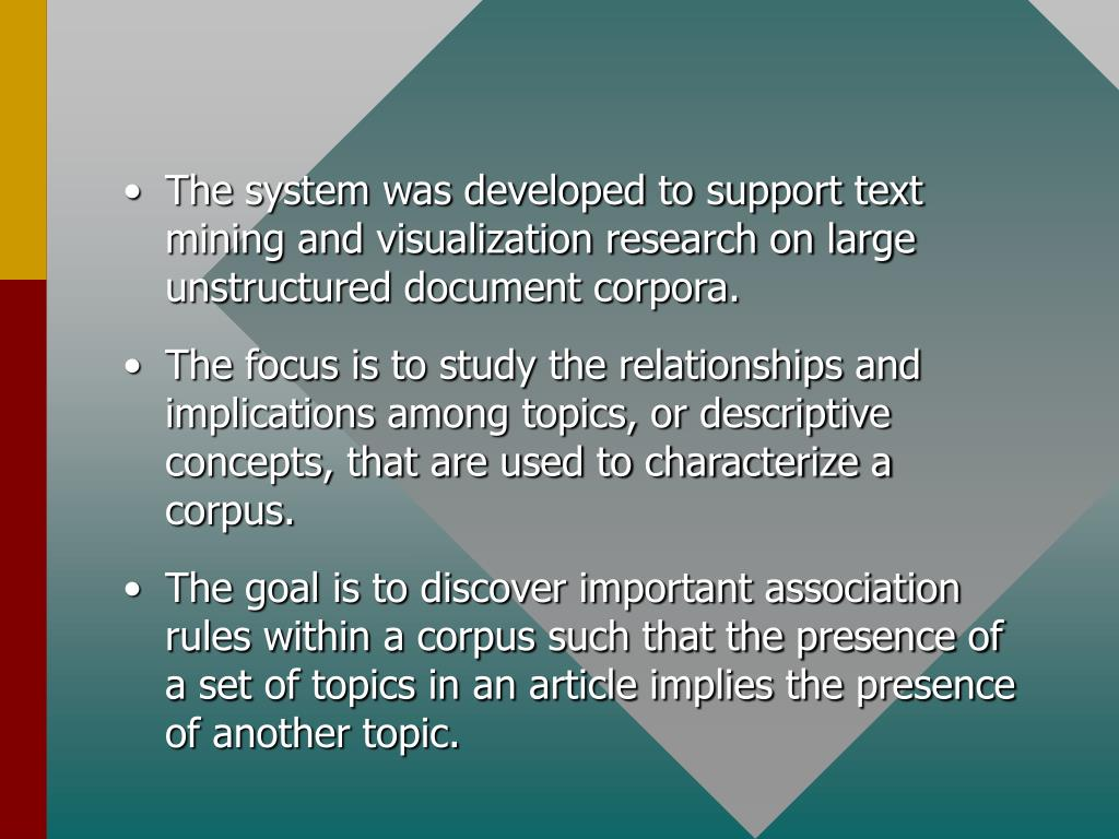 The system was developed to support text mining and visualization research on large unstructured document corpora.