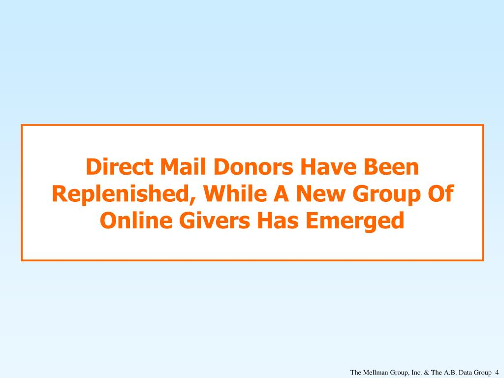 Direct Mail Donors Have Been Replenished, While A New Group Of Online Givers Has Emerged