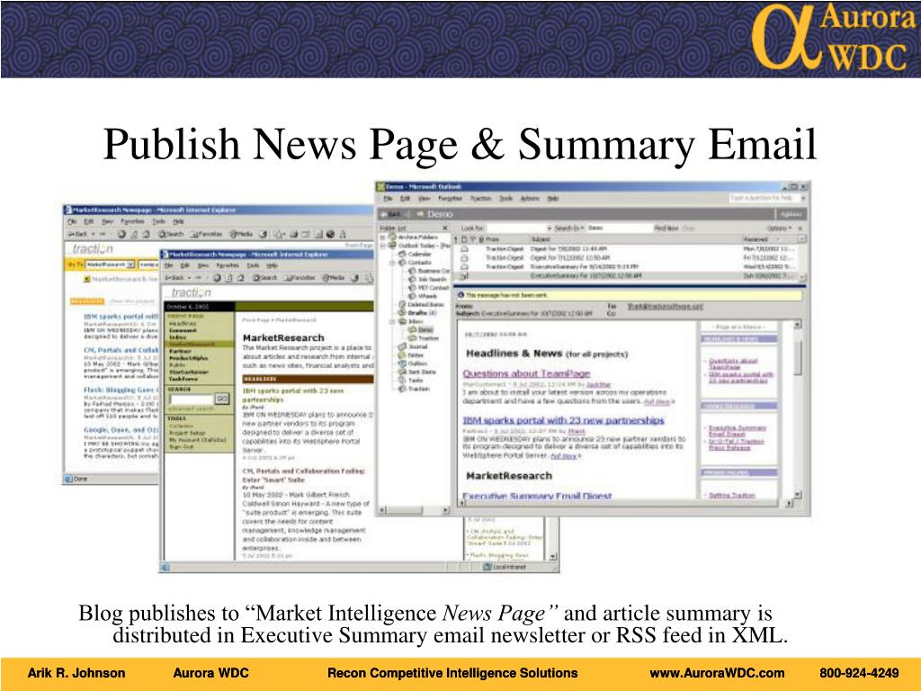 Publish News Page & Summary Email