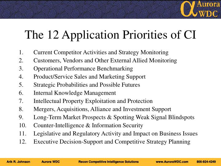 The 12 application priorities of ci
