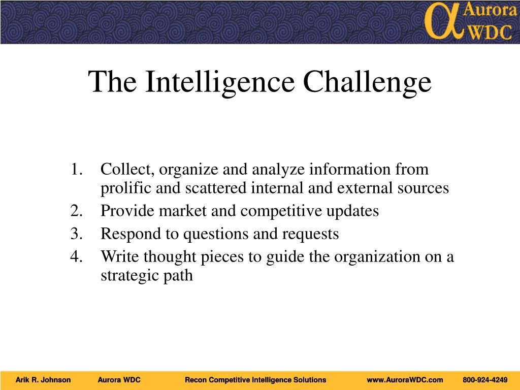 The Intelligence Challenge
