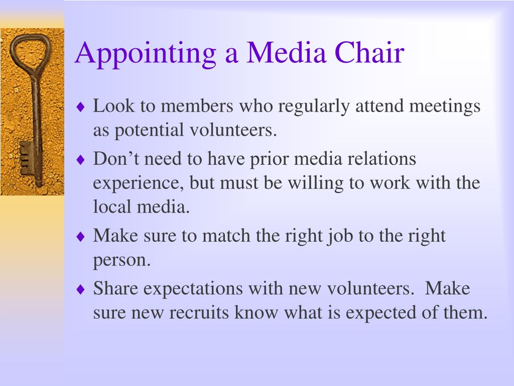 Appointing a Media Chair