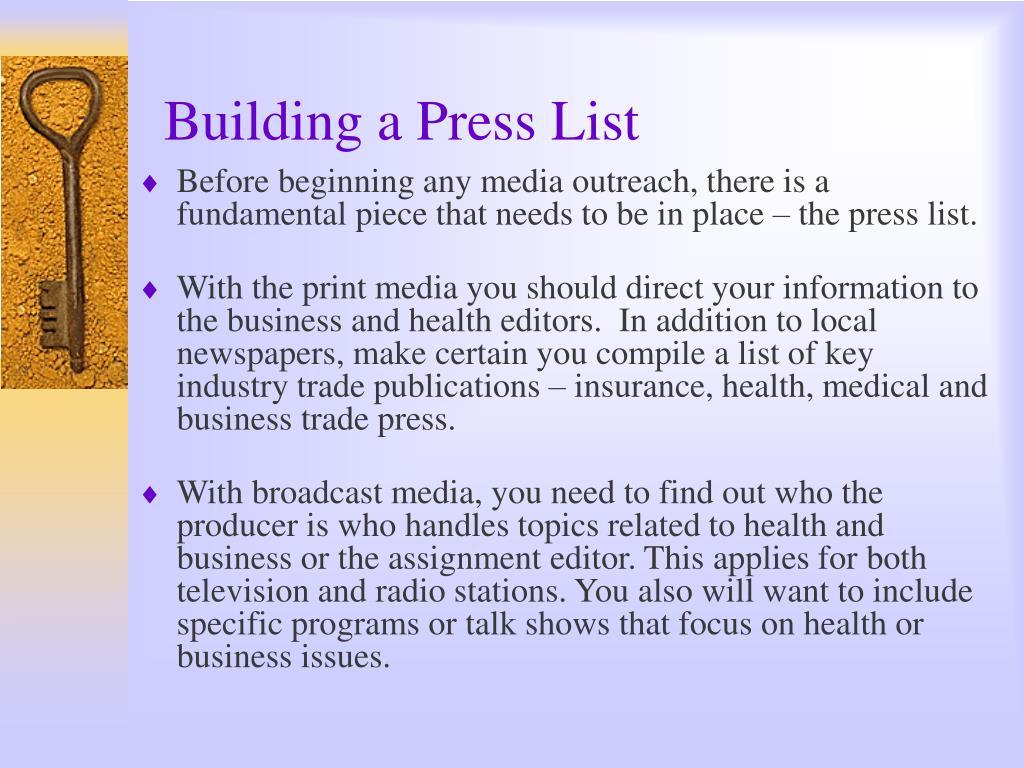 Building a Press List