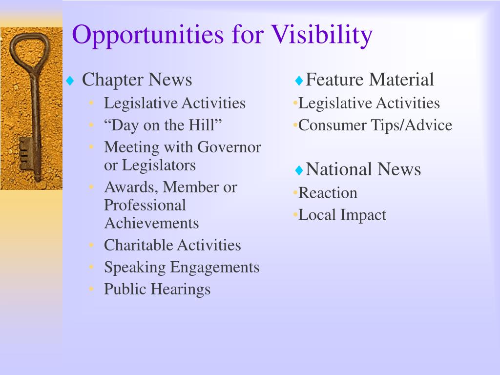Opportunities for Visibility