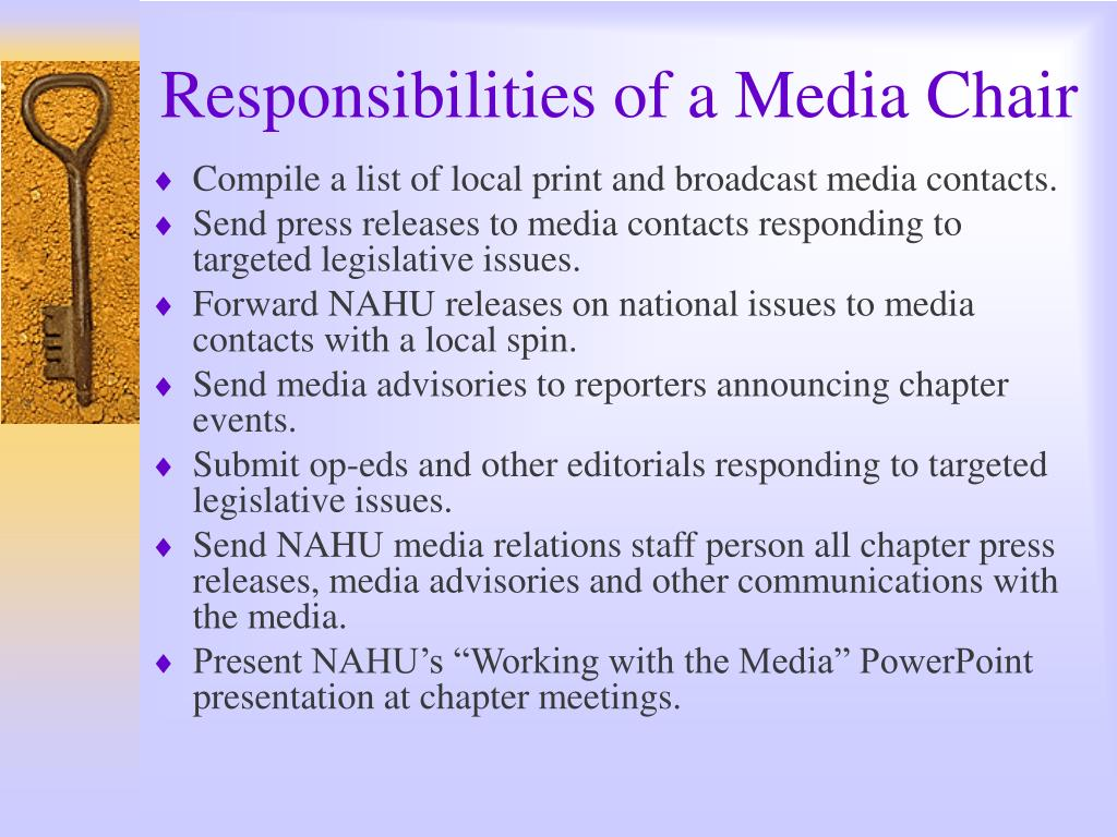 Responsibilities of a Media Chair