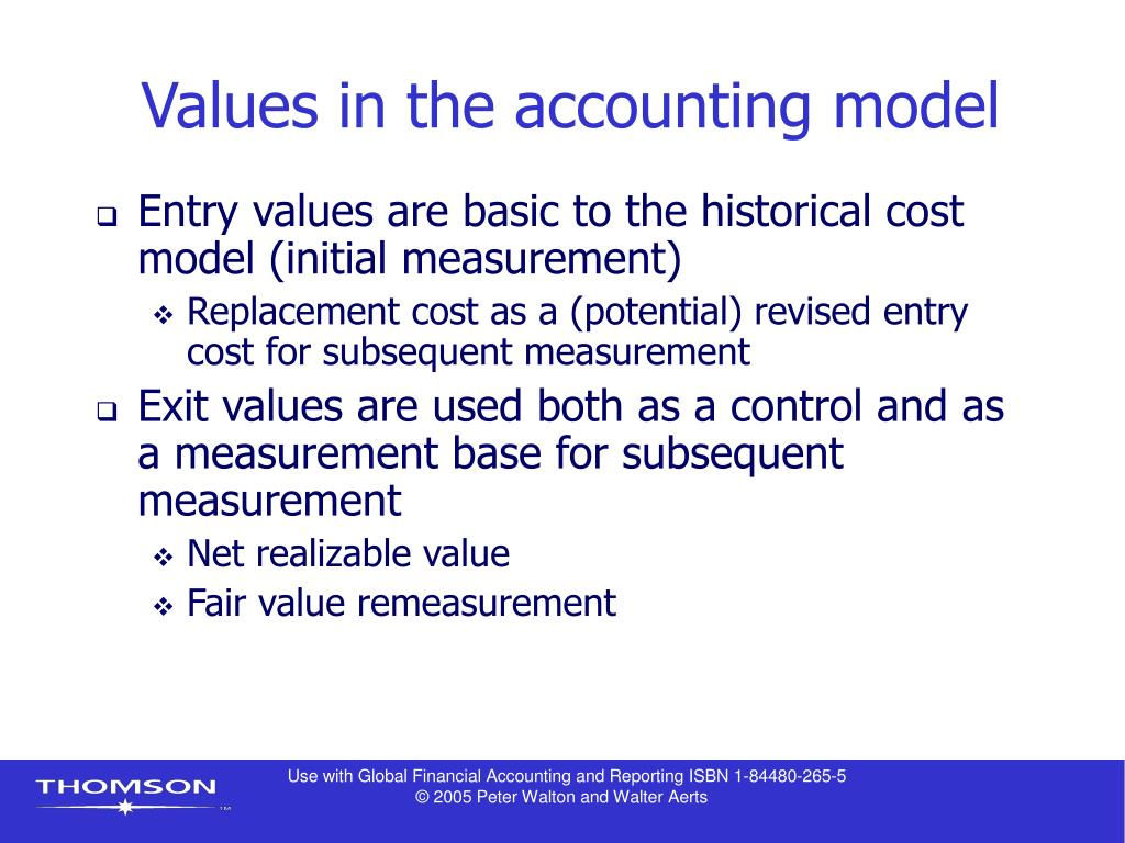 Values in the accounting model