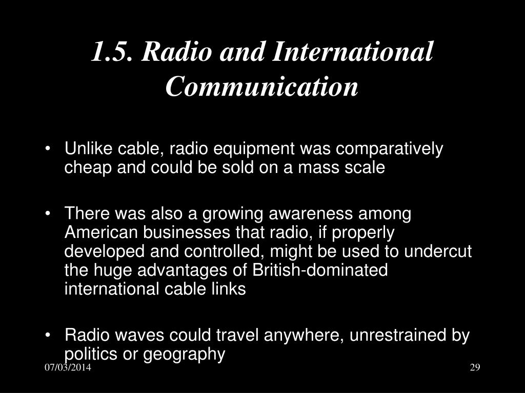 1.5. Radio and International Communication