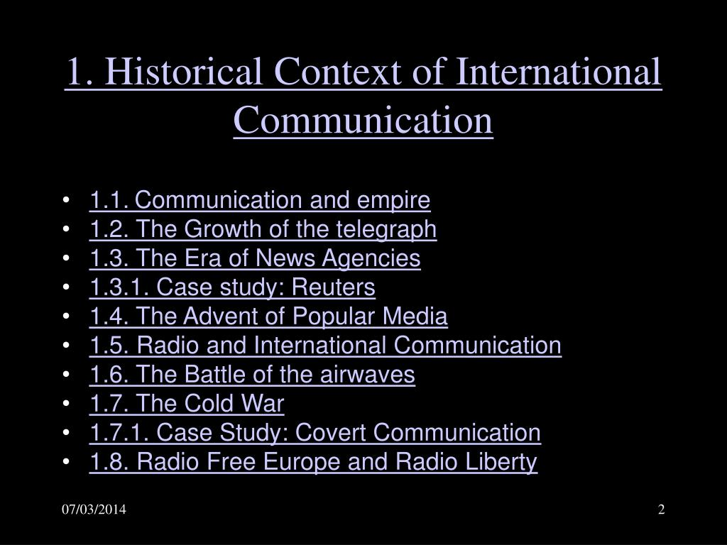 1. Historical Context of International Communication