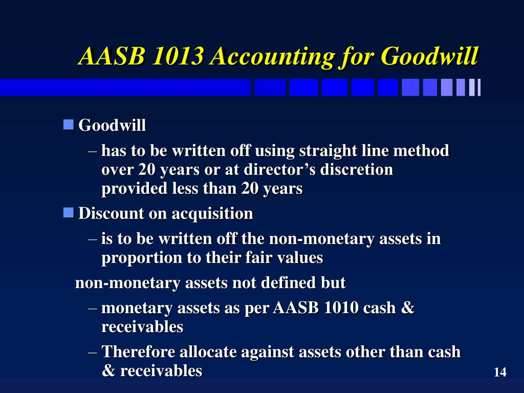 AASB 1013 Accounting for Goodwill