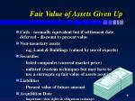 fair value of assets given up