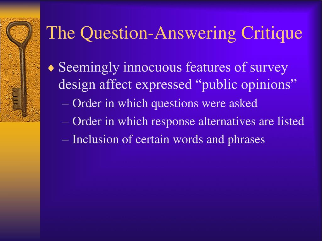 The Question-Answering Critique