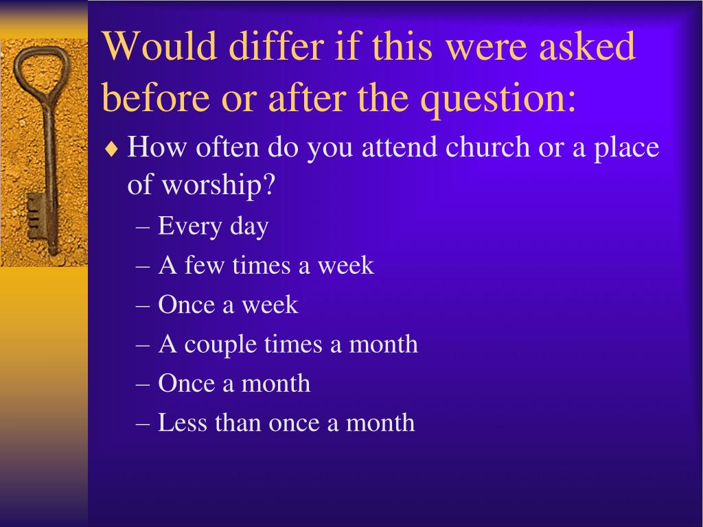 Would differ if this were asked before or after the question: