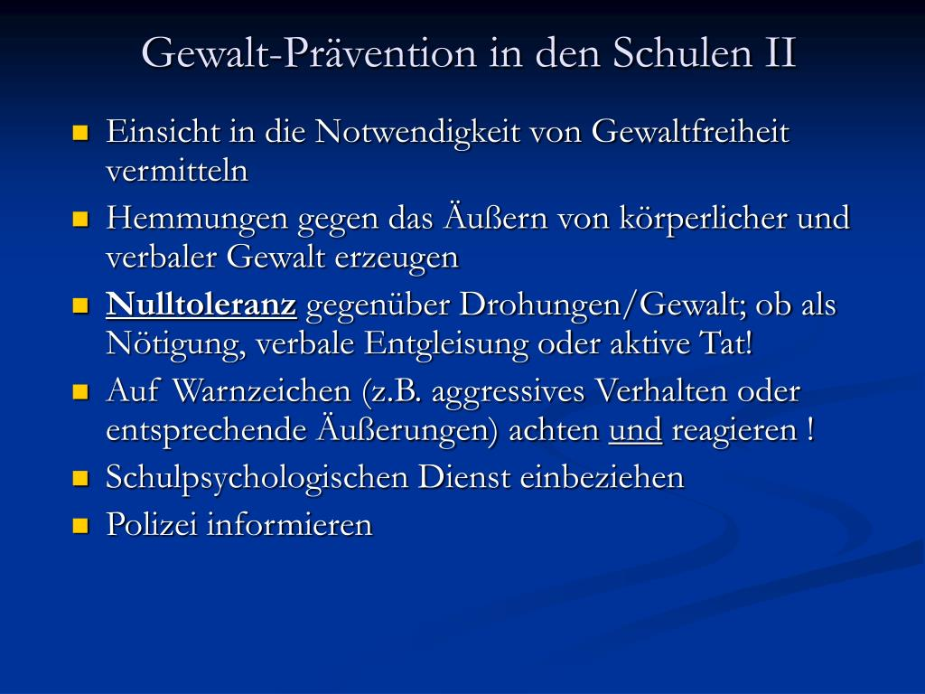 Gewalt-Prävention in den Schulen II