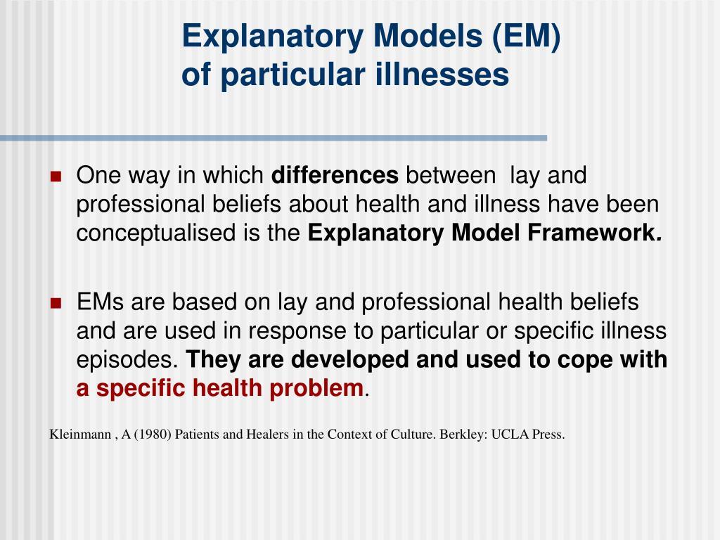 Explanatory Models (EM)