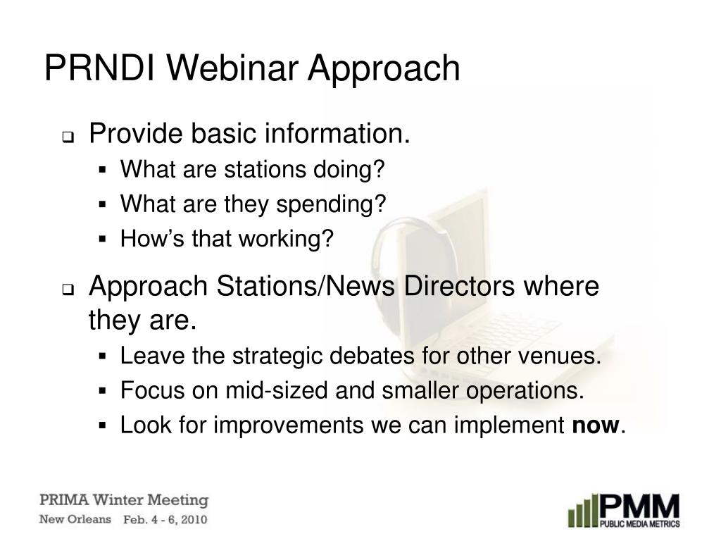 PRNDI Webinar Approach