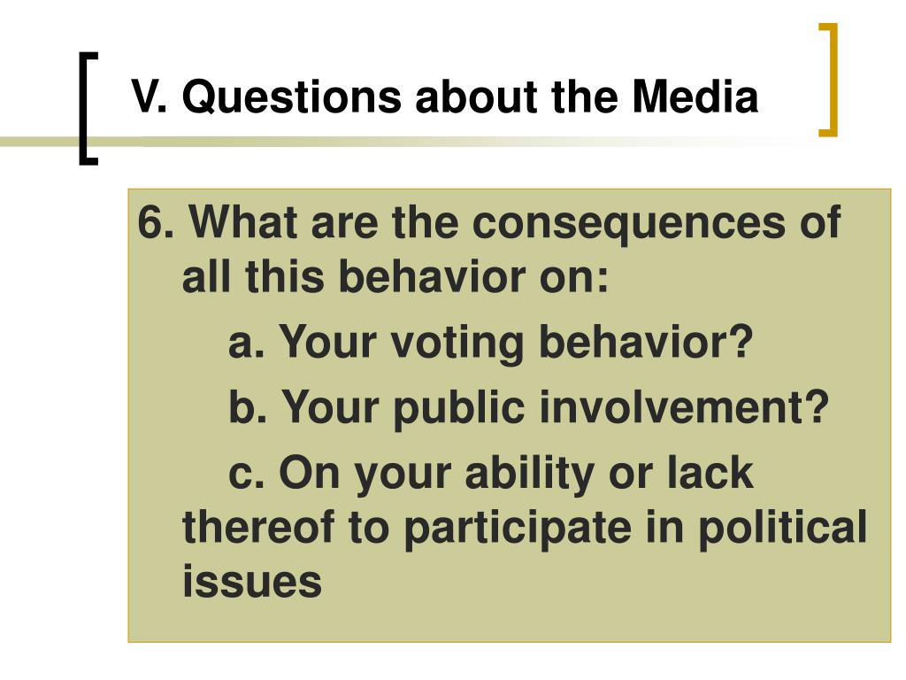 V.Questions about the Media