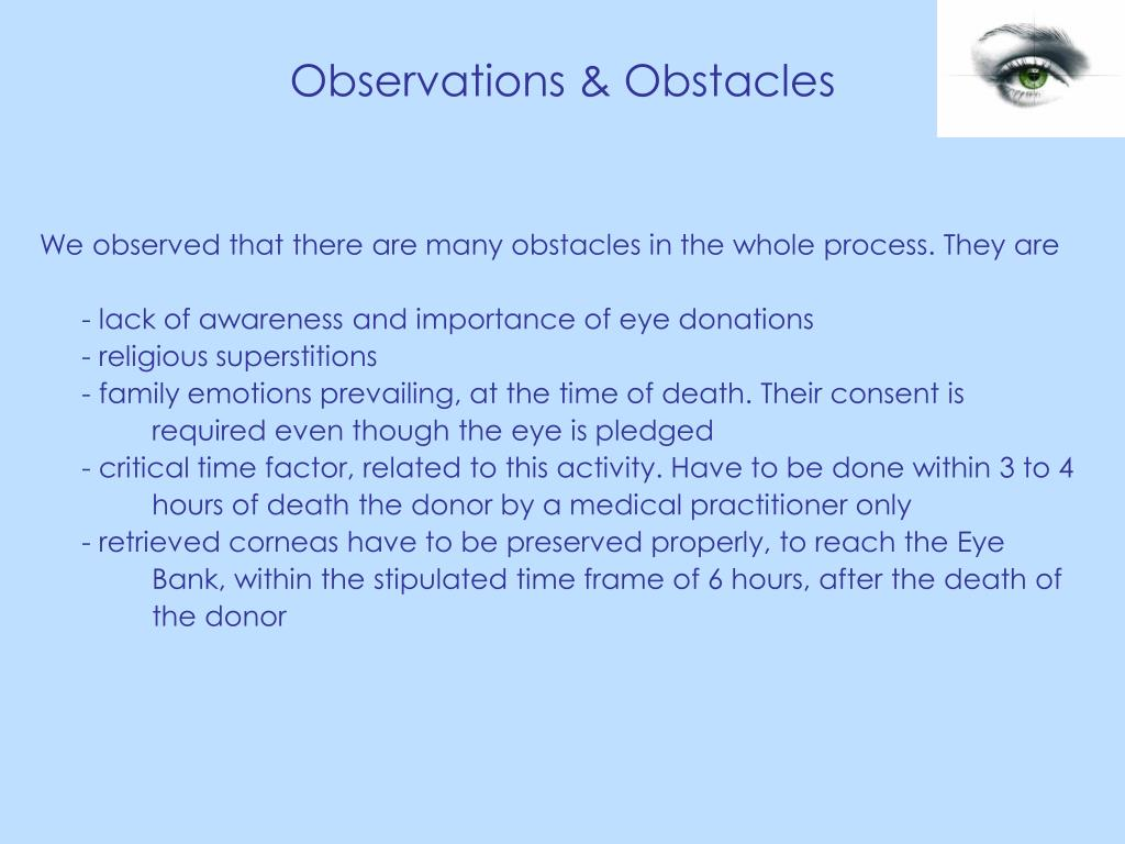 Observations & Obstacles