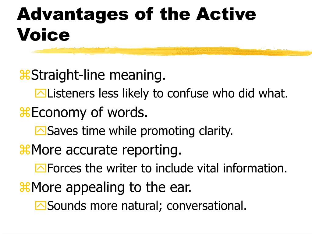 Advantages of the Active Voice