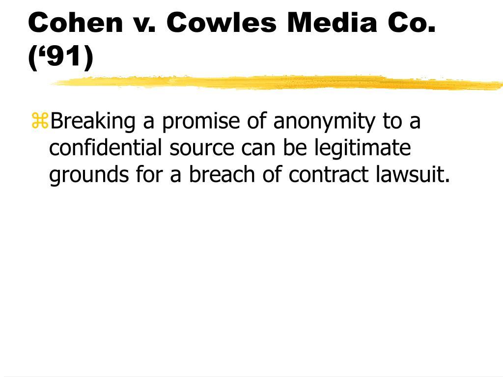 Cohen v. Cowles Media Co. ('91)