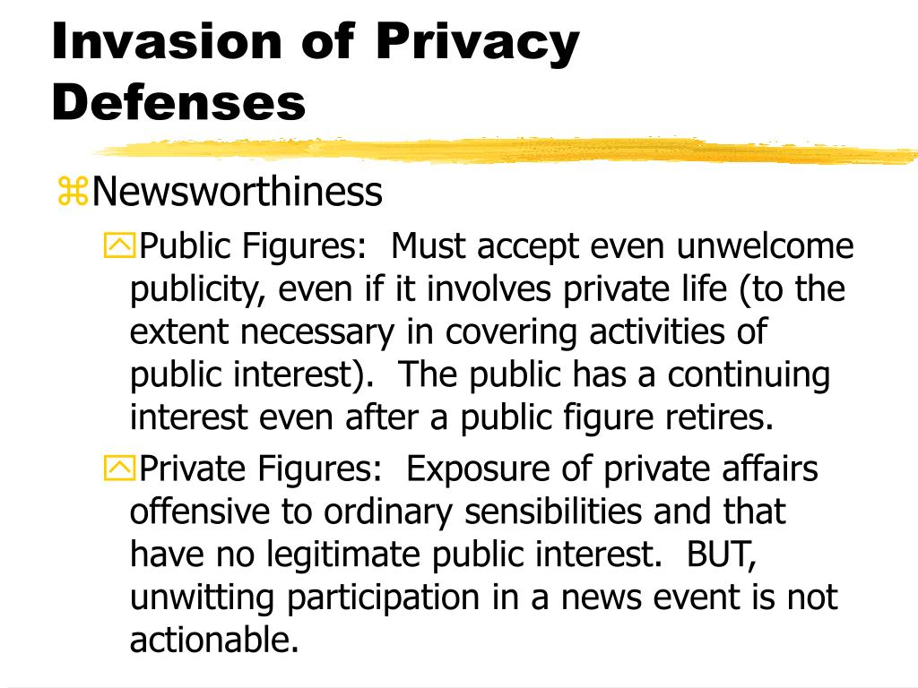 Invasion of Privacy Defenses