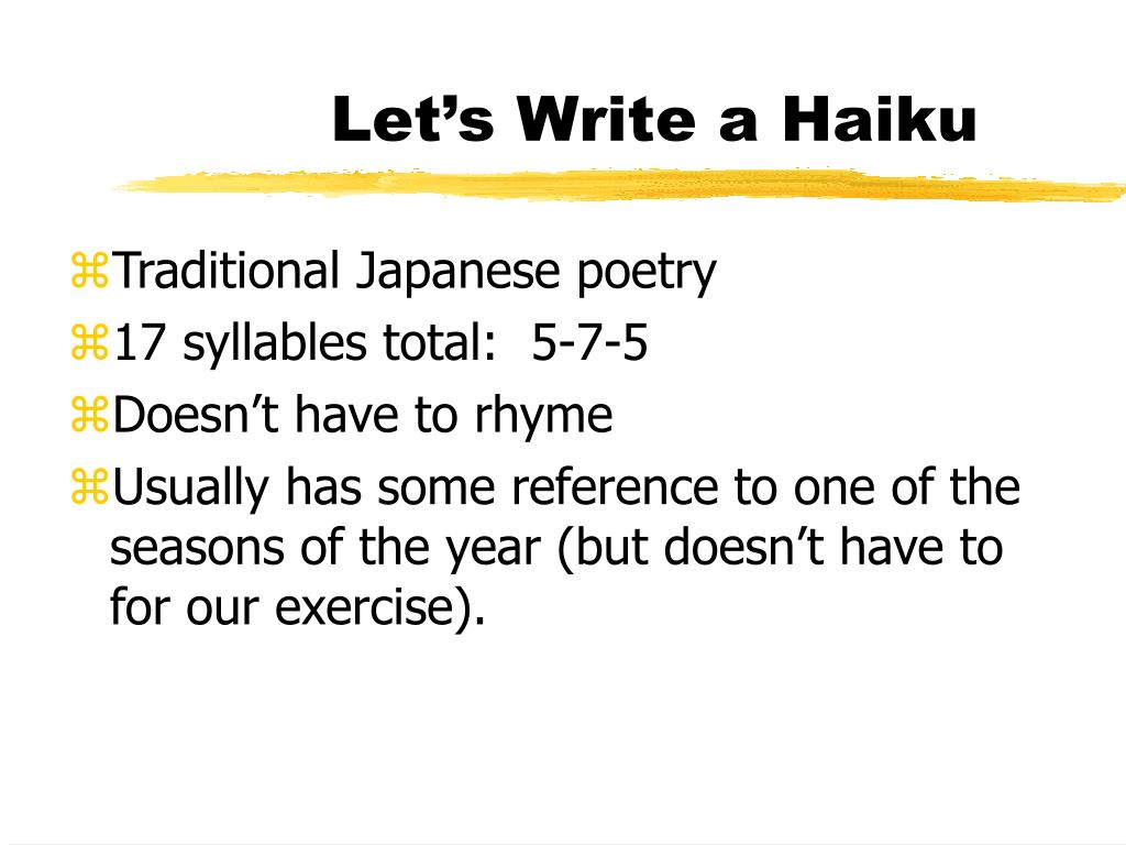 Let's Write a Haiku
