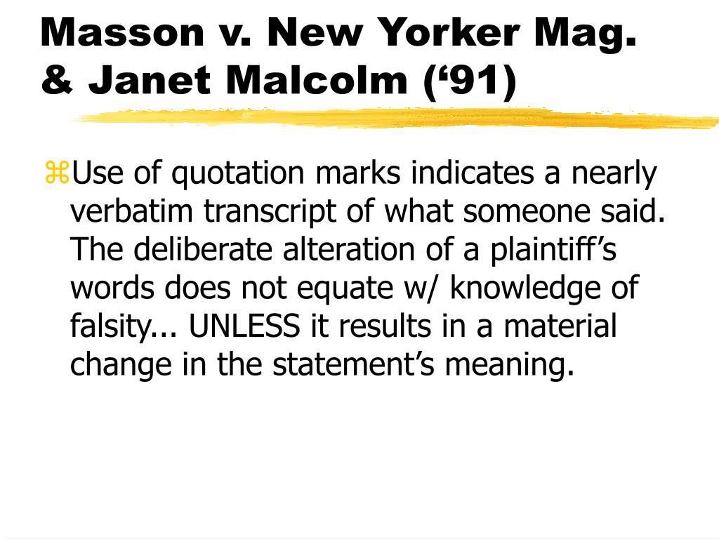 Masson v. New Yorker Mag.