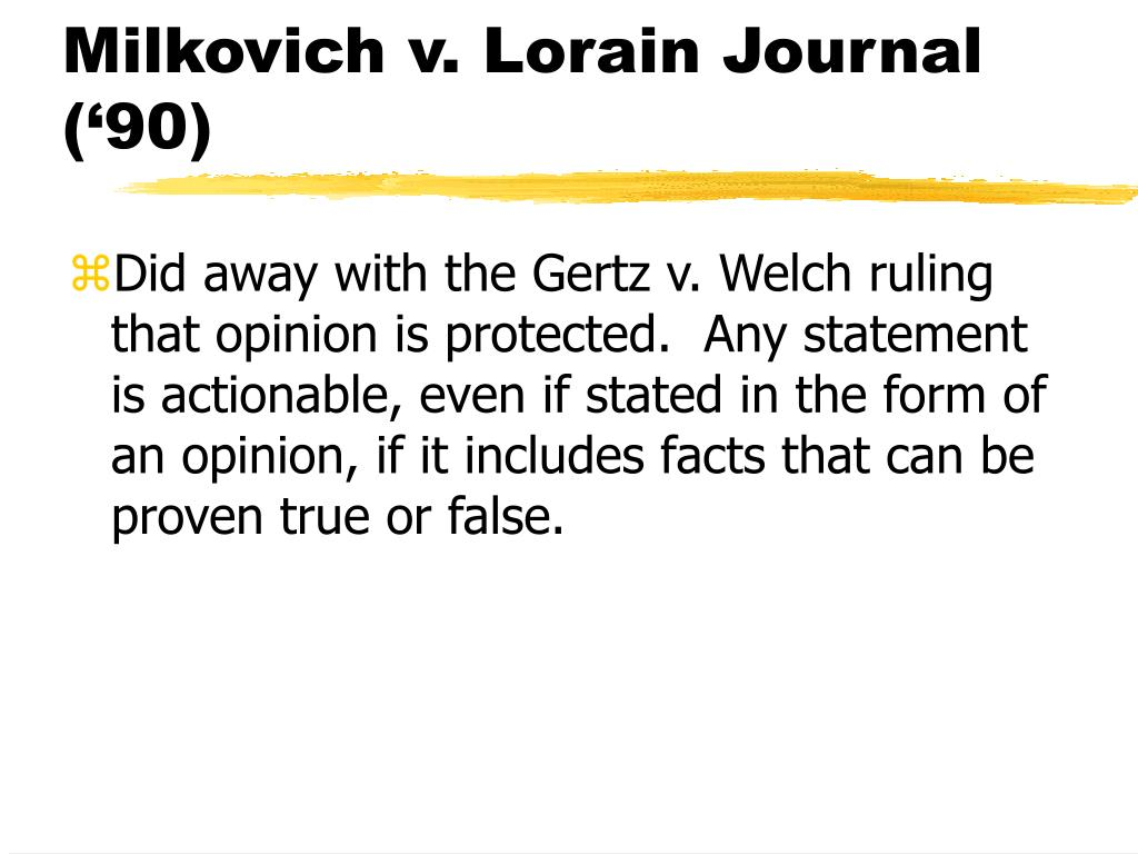 Milkovich v. Lorain Journal ('90)