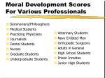 moral development scores for various professionals