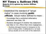 ny times v sullivan 64 majority 6 3 opinion by justice william brennan180