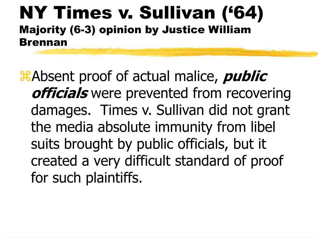 NY Times v. Sullivan ('64)