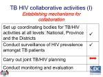 tb hiv collaborative activities i establishing mechanisms for collaboration
