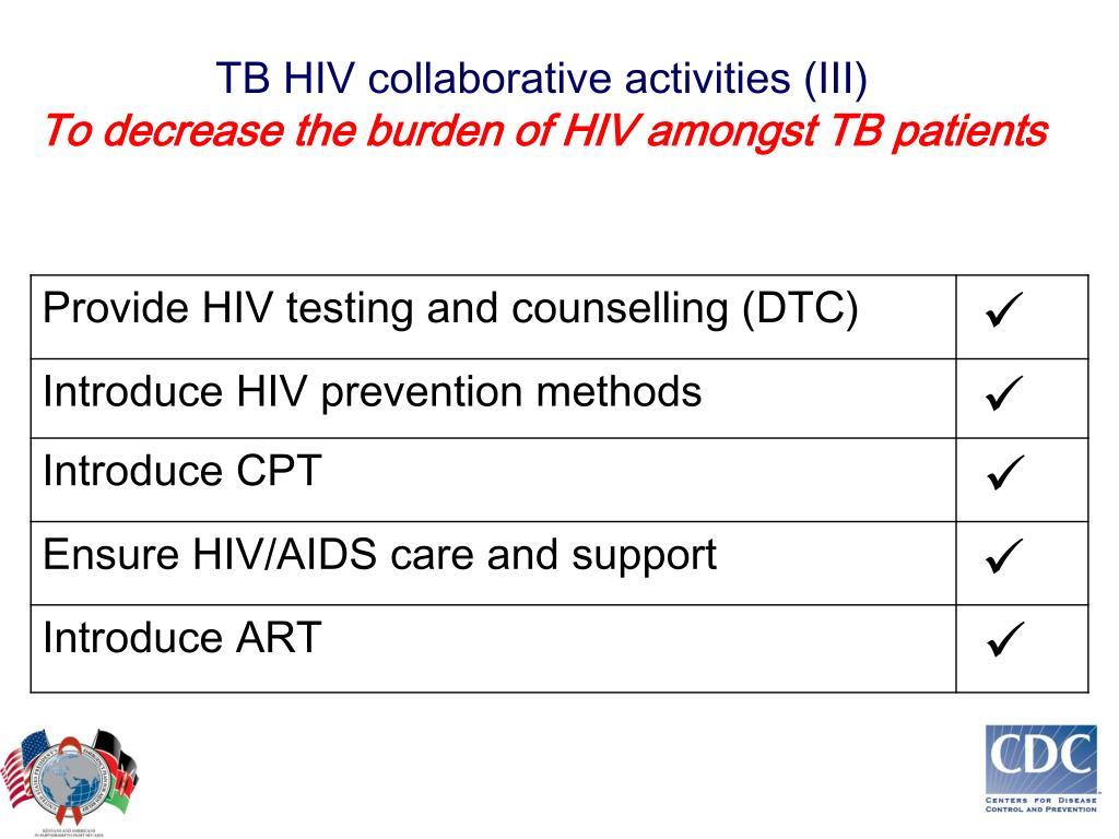 TB HIV collaborative activities (III)