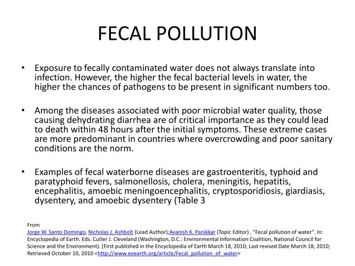 Fecal pollution