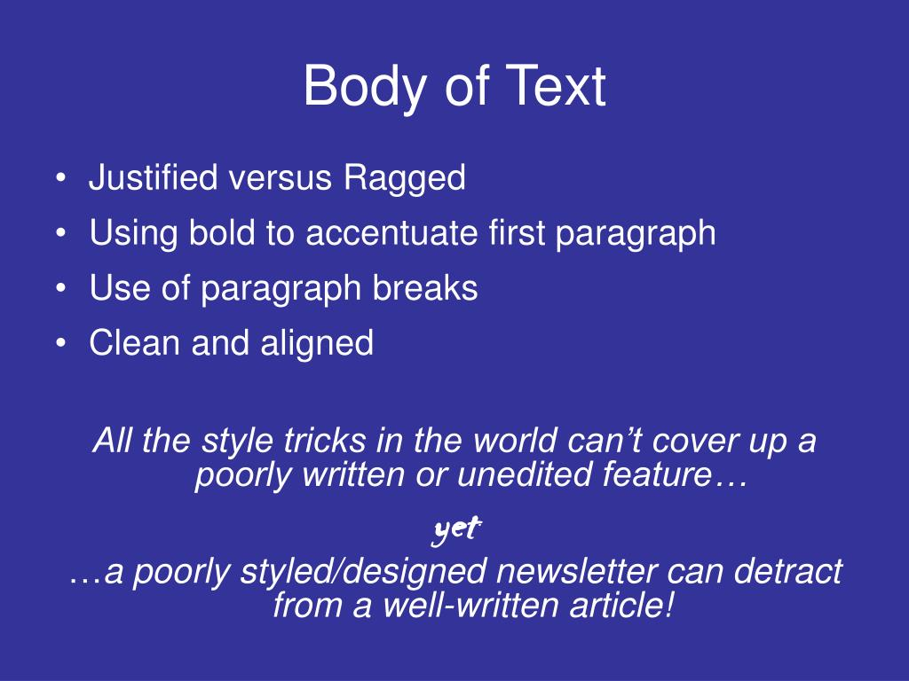 Body of Text