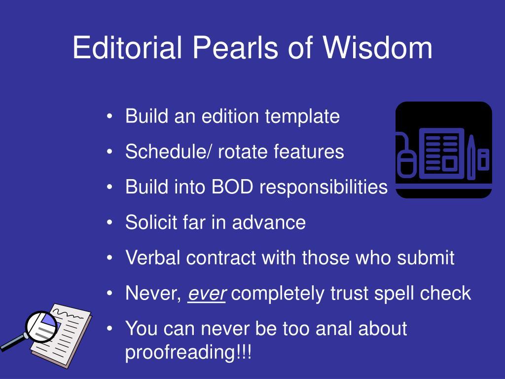 Editorial Pearls of Wisdom