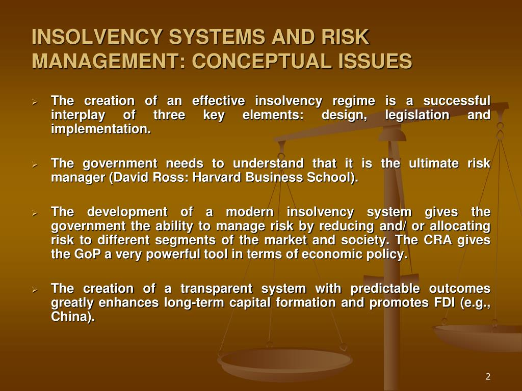INSOLVENCY SYSTEMS AND RISK MANAGEMENT: CONCEPTUAL ISSUES