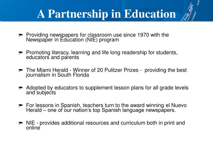 A partnership in education