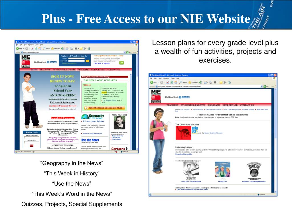 Plus - Free Access to our NIE Website