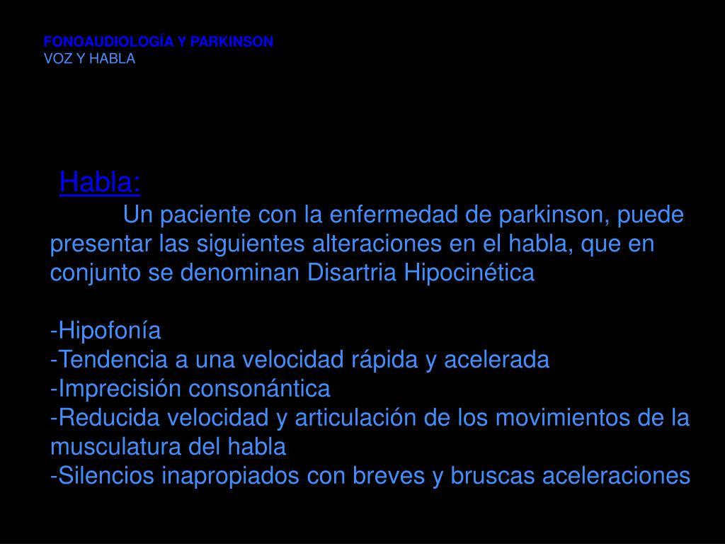 FONOAUDIOLOGÍA Y PARKINSON