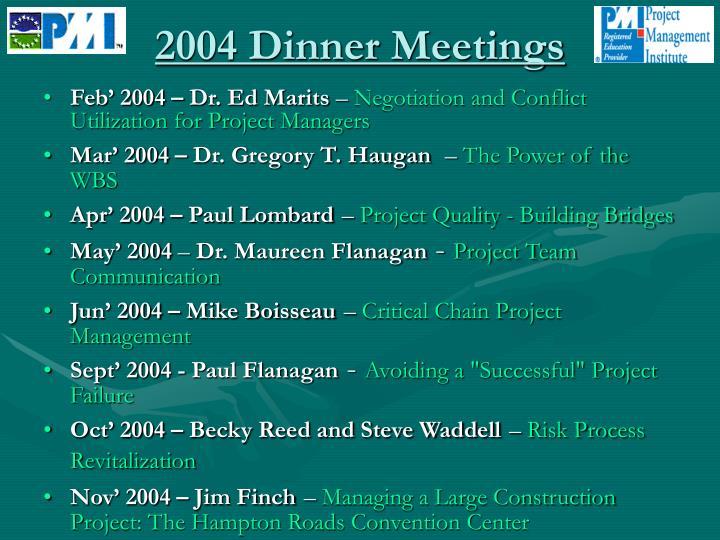 2004 Dinner Meetings