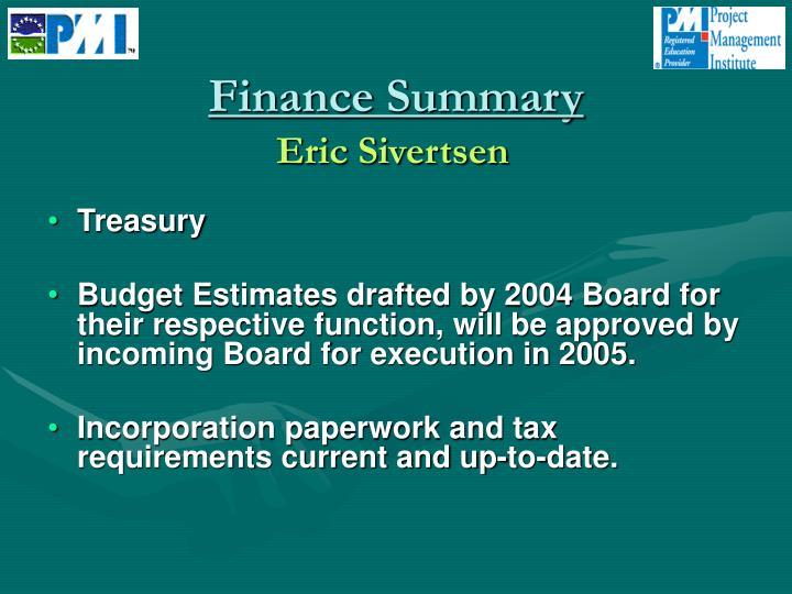 Finance Summary
