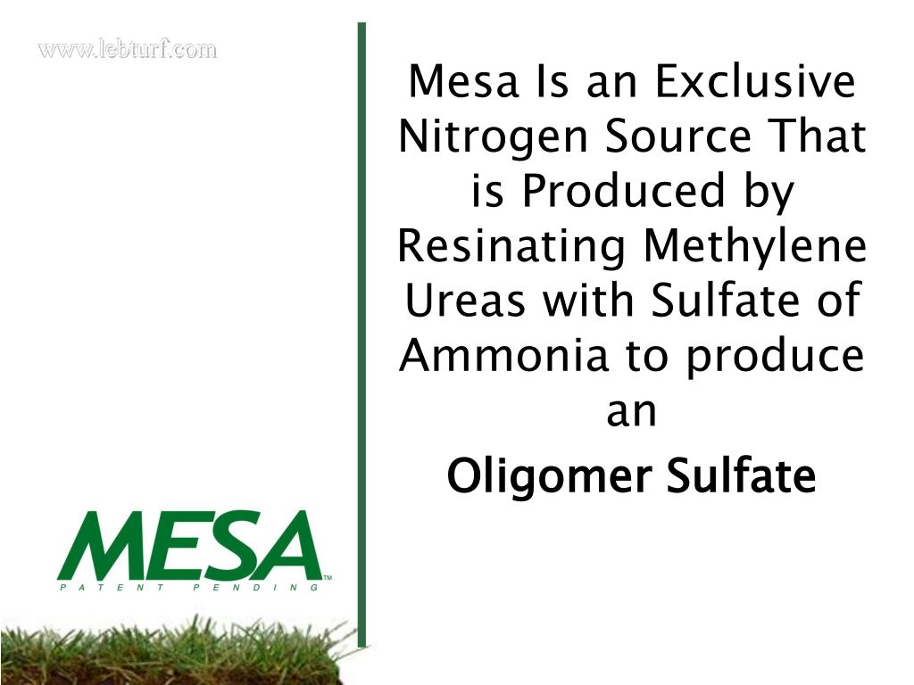 Mesa Is an Exclusive Nitrogen Source That is Produced by Resinating Methylene Ureas with Sulfate of Ammonia to produce an